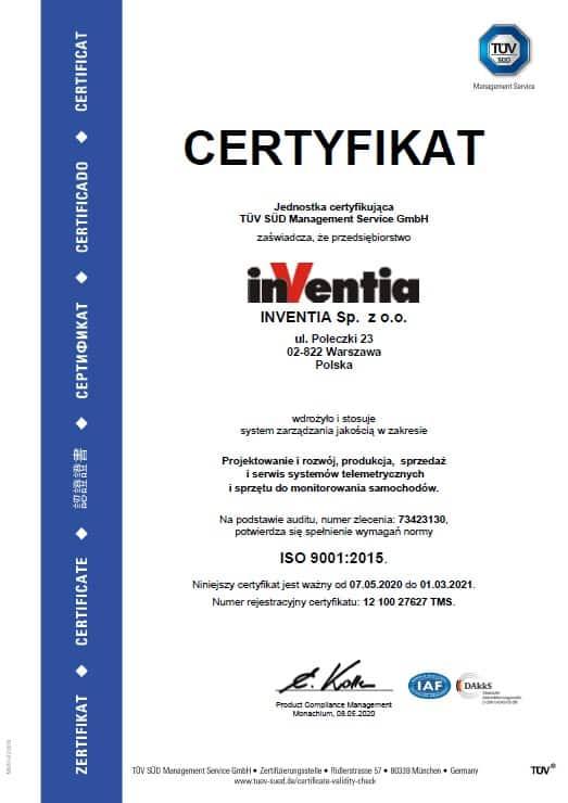 Inventia Certyfikat